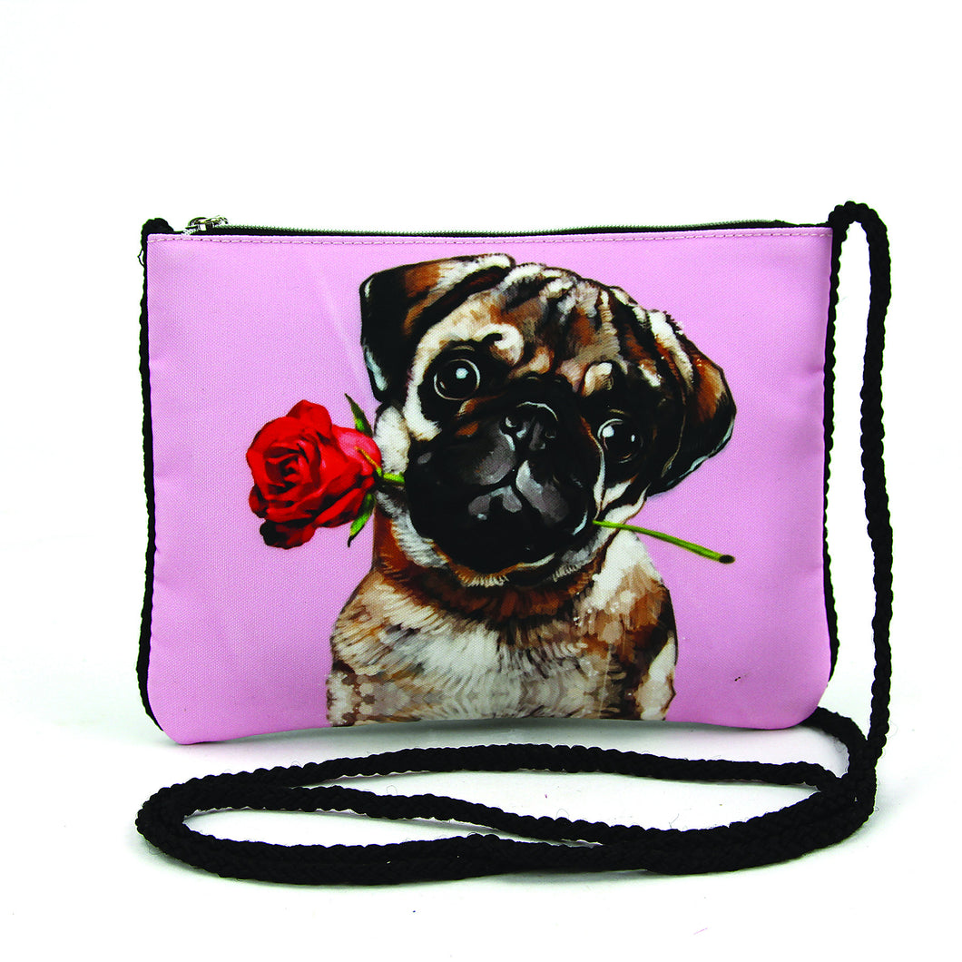 Pug with a Rose Crossbody Pouch in Polyester - Great Dog Shop
