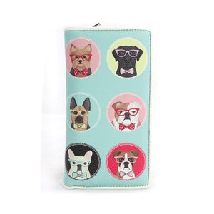 Gentle Dogs in Glasses Zip Around Bi-Fold Wallet in Vinyl Material - Great Dog Shop