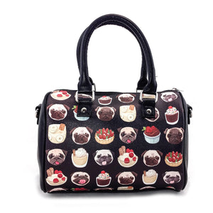 Sleepyville Critters - Pugs and Desserts Satchel in Vinyl Material - Great Dog Shop