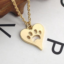 Load image into Gallery viewer, Women Fashion Dog Paw Print Heart Necklace - Great Dog Shop