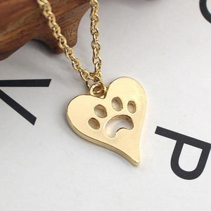 Women Fashion Dog Paw Print Heart Necklace - Great Dog Shop