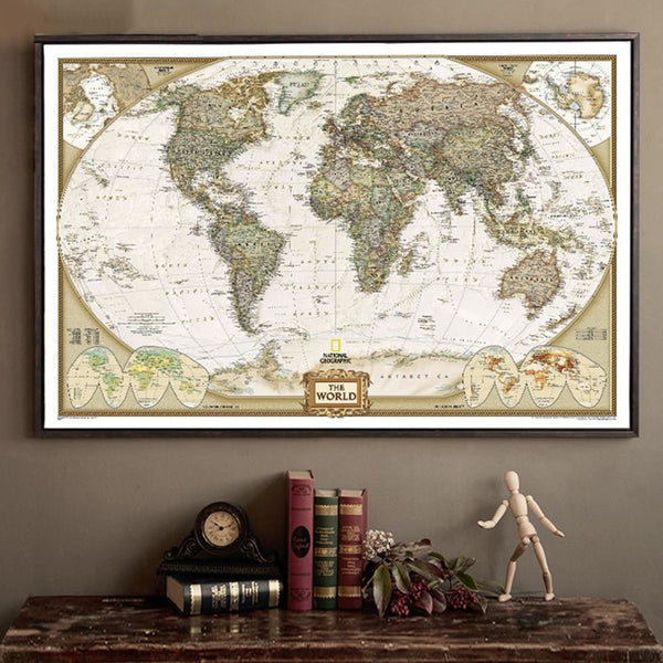 VINTAGE LARGE MAP OF WORLD