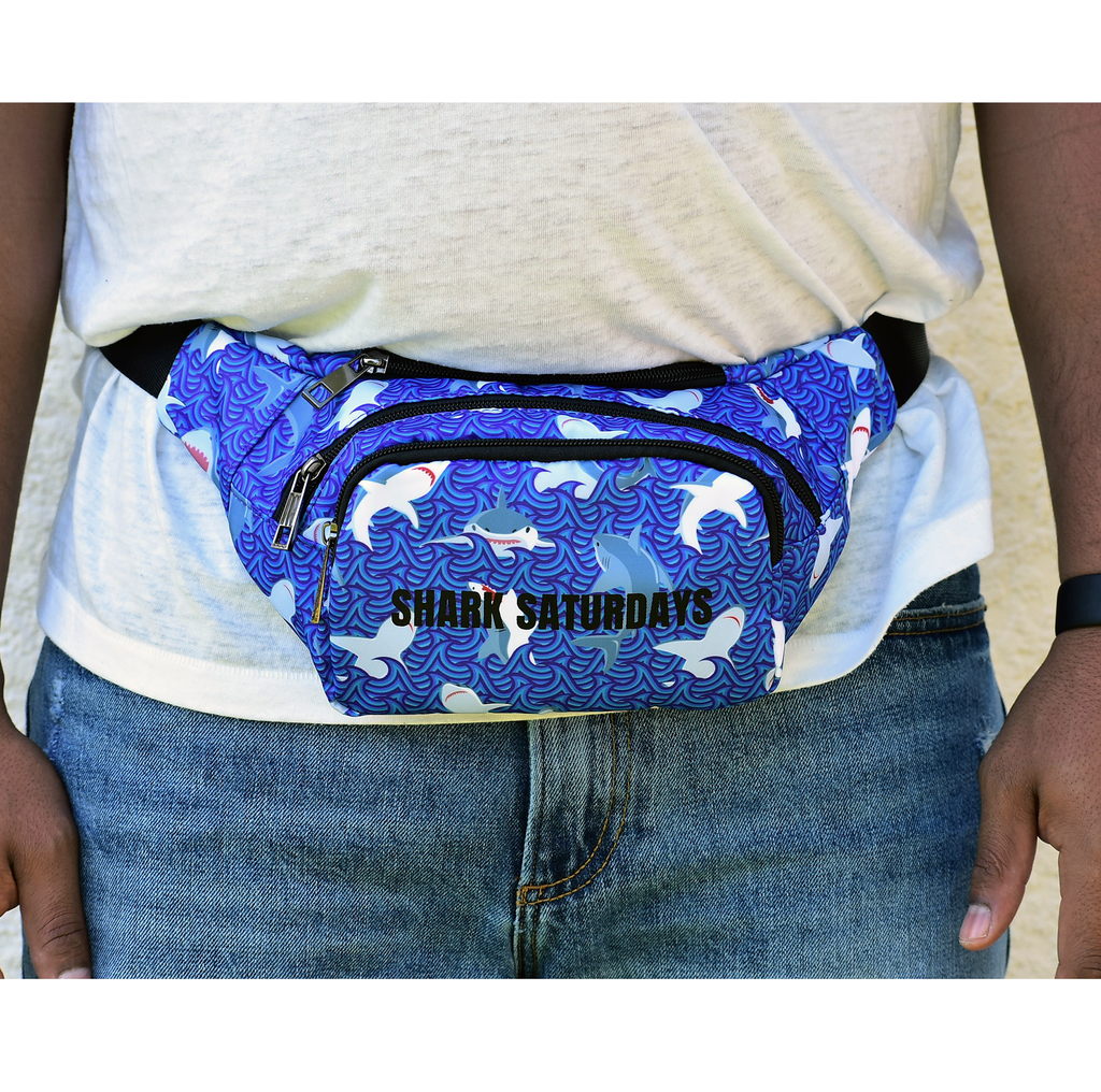 The-Official-Retro-Bag-Shop-Shark-Saturday-Fanny-Pack-Front-View-Model