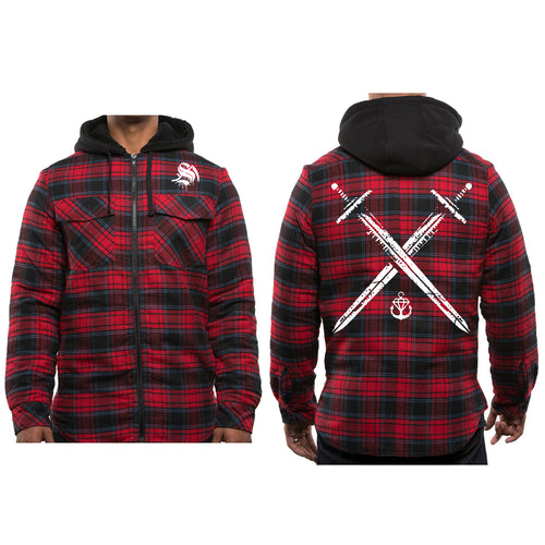 Swords Red Hooded Flannel
