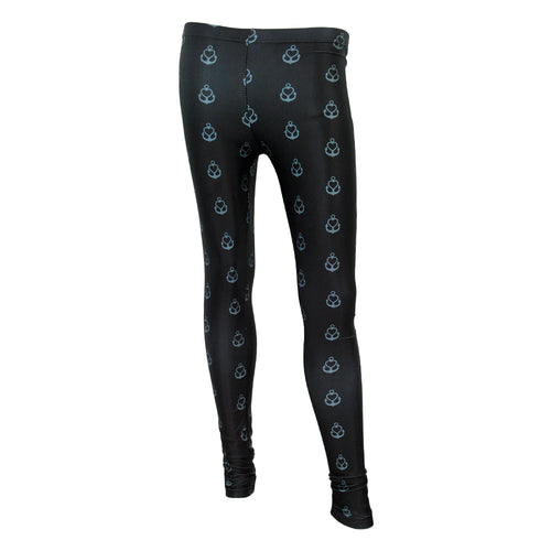 All-Over-Pattern Black Leggings