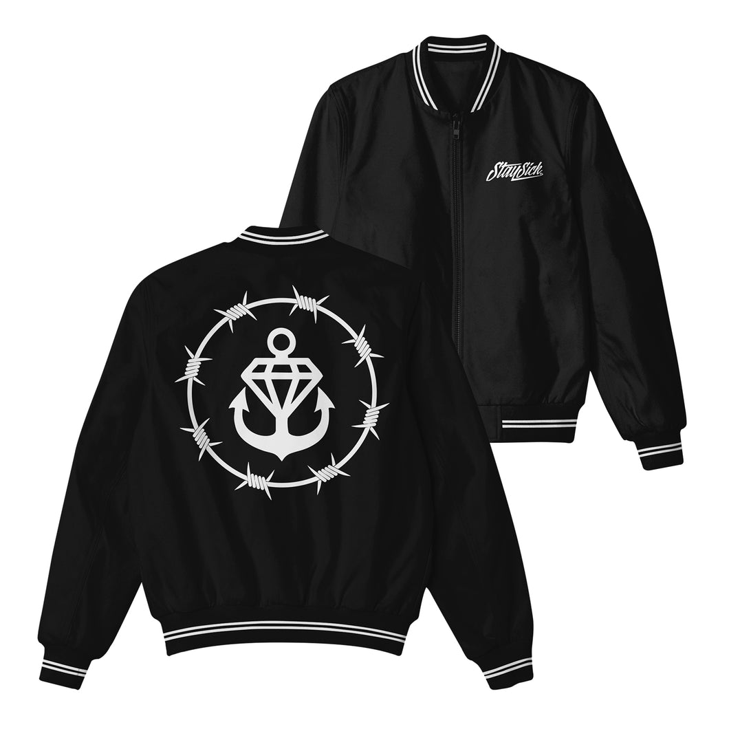 Barbed Wire Logo Black Bomber Jacket