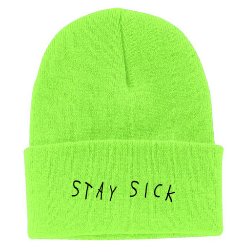 Too Late Neon Green Beanie