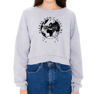 Please Don't Hurt Me Heather Grey Fleece Cropped Girl's Crewneck