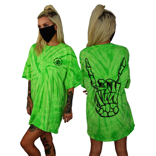 Barbed Wire Horns Lime Spider Tie Dye T-Shirt
