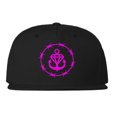 Purple Barbed Logo Black Snapback