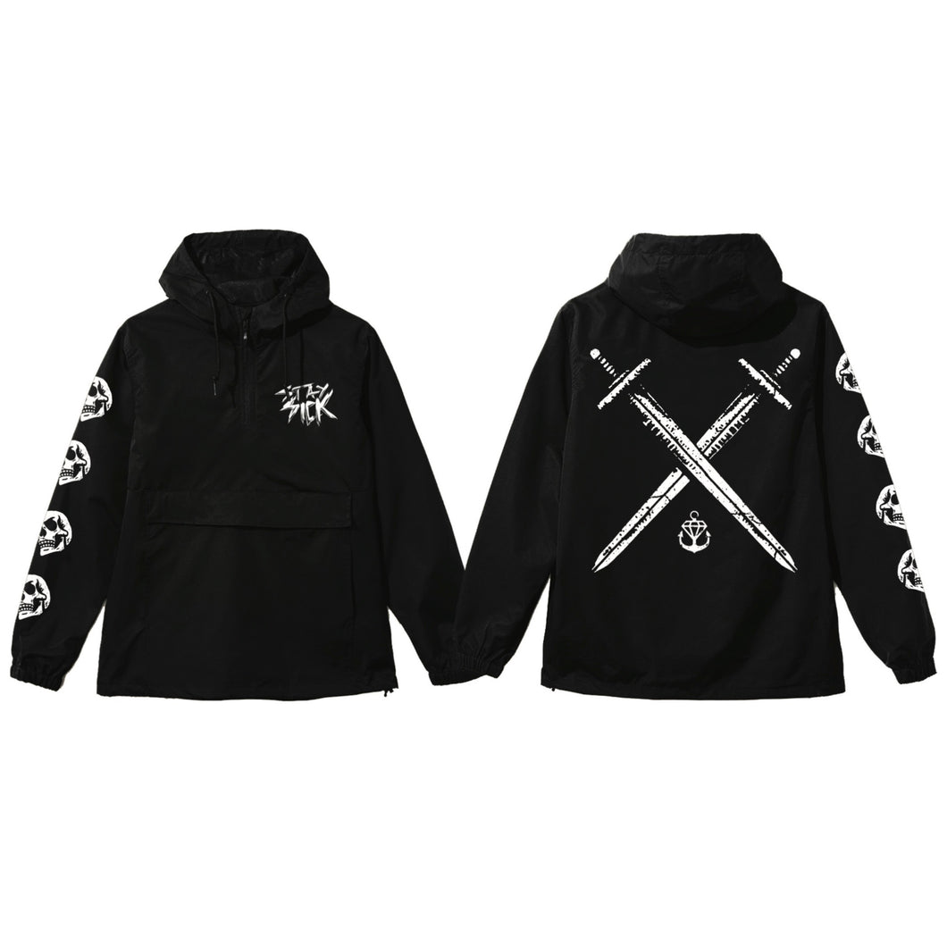 Swords Black Pullover Windbreaker