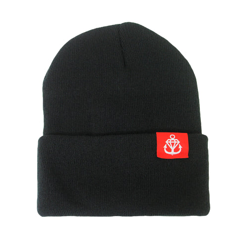 Logo Hem Tag Black Flip-Up Beanie