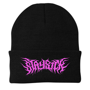 Pink Death Metal Logo Black Flip-Up Beanie
