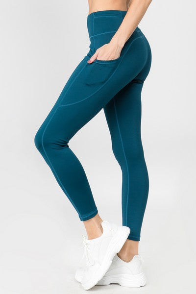 Women's High Waist Five Pocket Workout Leggings (S-L)(9 Colors)
