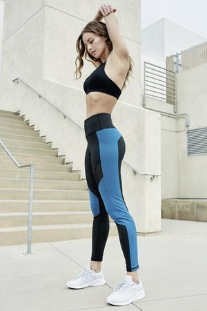 Women's Active High Rise Colorblock Mesh Workout Legging with Pockets (S-L)