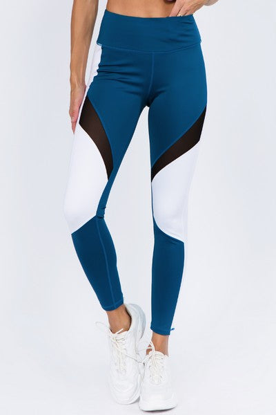 Women's Active High Rise Colorblock Mesh Workout Legging with Pockets (S-L)(3 Colors)