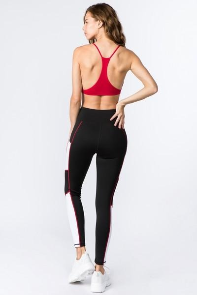 Women's Active High Rise Side Pocket Colorblock Legging (S-L) - solowomen