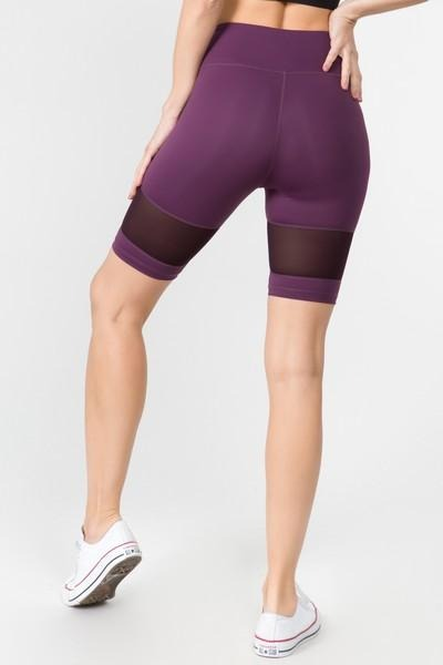 Women's Mesh Detail Cycling Shorts (S - L)(2 Colors) - solowomen