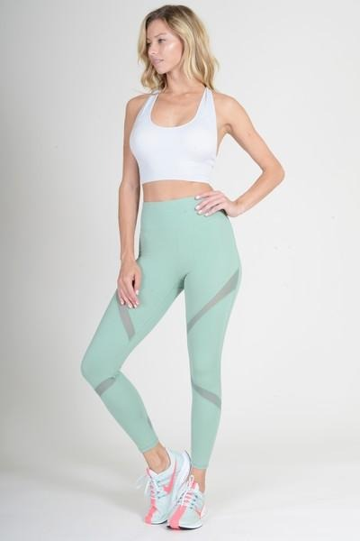 Women's Active Leggings with Mesh Panels and Zipper Pocket (2 Colors)(S - L)