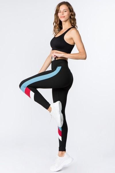 Women's Active Triple Color Block Workout Leggings (S-L)