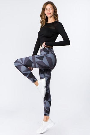 Women's Active High Rise Geo Print Workout Leggings (S-L)