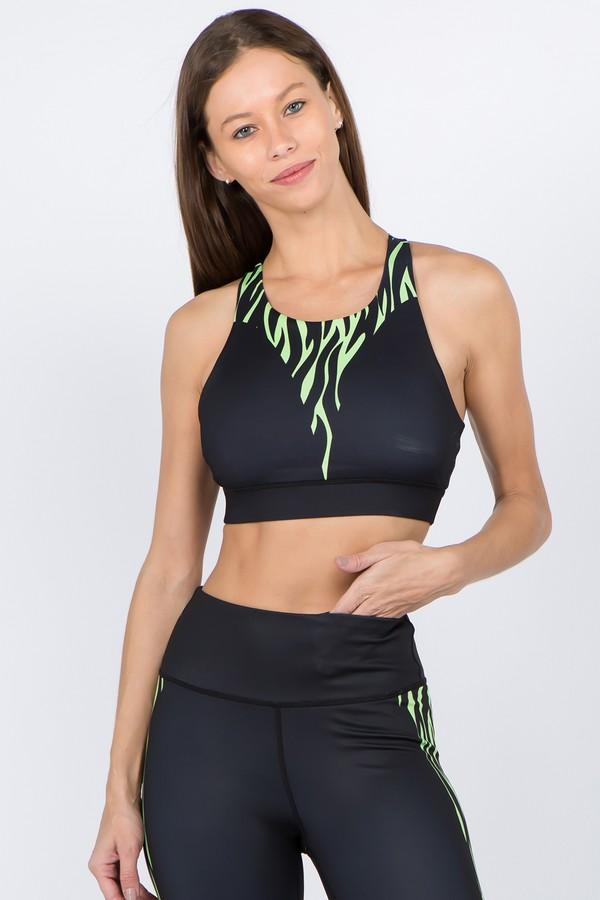 Women's Vertical Zebra Printed Sports Bra (S-L)