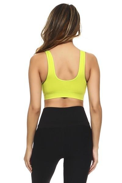Women's Athletic Sports Bra with Inside Clip, Padded Cups and Front Zipper (4 Colors)