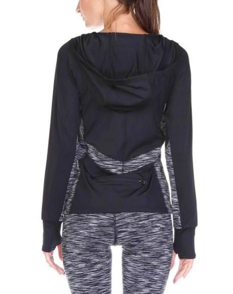 Space-Dye Colorblock Hoodie Top (S-L)