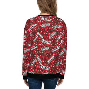 "Woman wearing a red sweatshirt with a cherry pattern and with the text ""cherry"" and ""pop"", shown from the back."