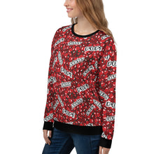 "Load image into Gallery viewer, Woman wearing a red sweatshirt with a cherry pattern and with the text ""cherry"" and ""pop"", shown from the left side."