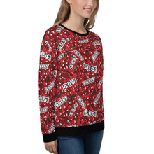 "Load image into Gallery viewer, Woman wearing a red sweatshirt with a cherry pattern and with the text ""cherry"" and ""pop"", shown from the right side."