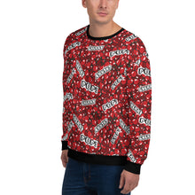 "Load image into Gallery viewer, Man wearing a red sweatshirt with a cherry pattern and with the text ""cherry"" and ""pop"", shown from the left side."