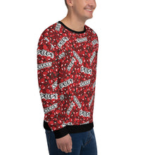 "Load image into Gallery viewer, Man wearing a red sweatshirt with a cherry pattern and with the text ""cherry"" and ""pop"", shown from the right side."
