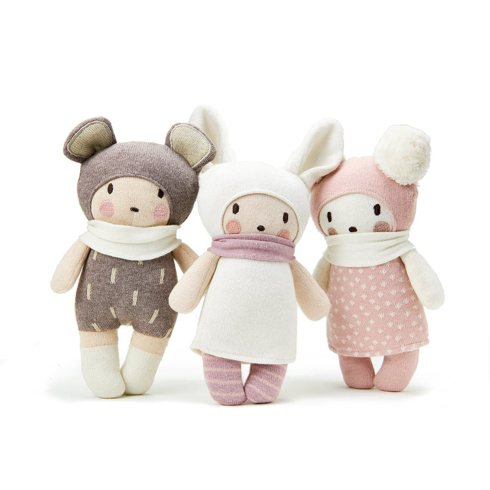 Baby Baba, Baby Beau and Baby Bella knitted dolls