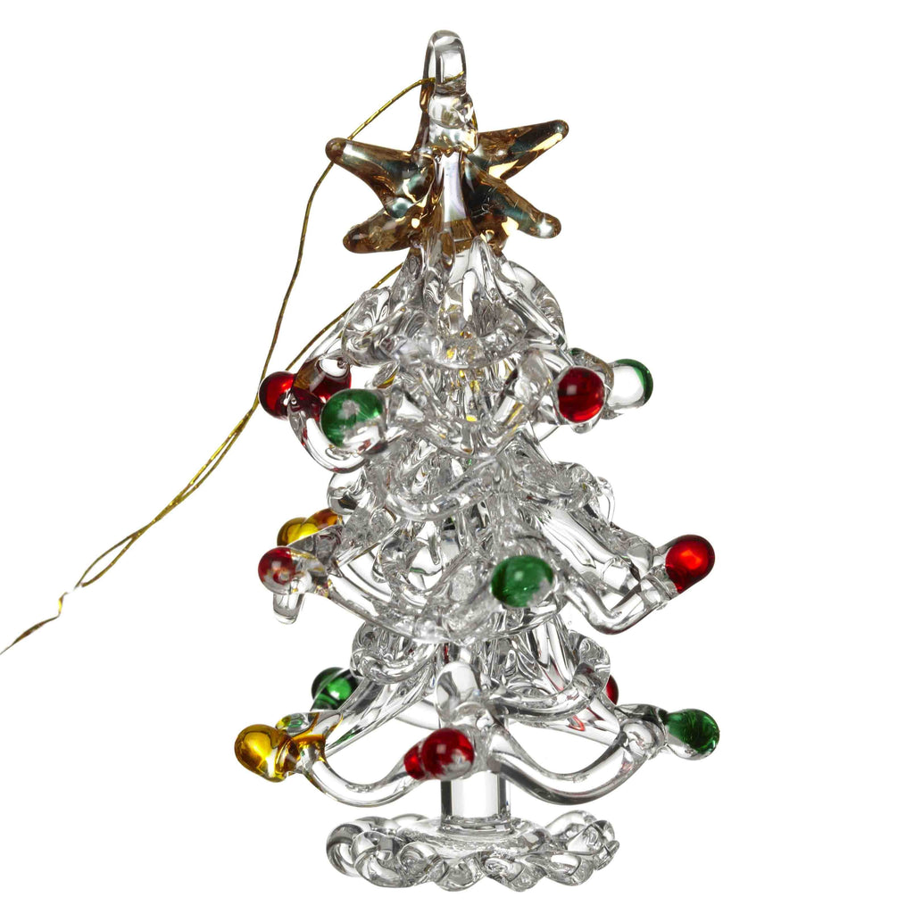 Glass Christmas tree hanging decoration with coloured baubles
