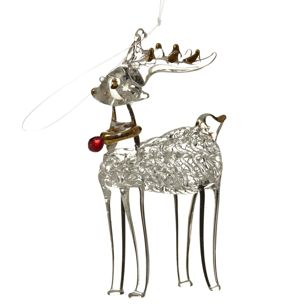 Glass reindeer with red scarf Christmas decoration
