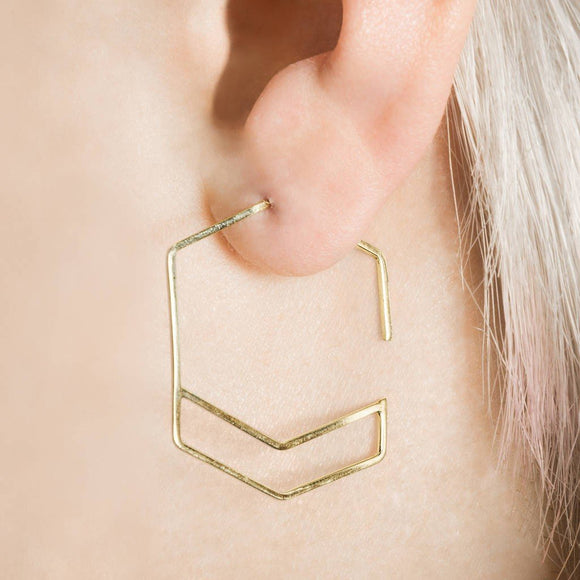 Gold Hexagon Geometric Hoop Earrings