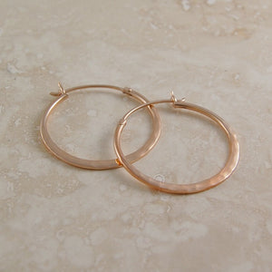 Small Hammered Rose Gold Hoop Earrings