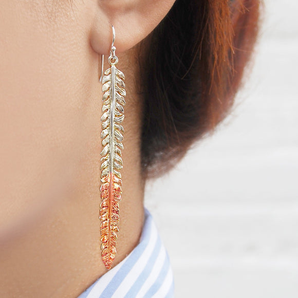 Fern Rose Gold and Silver Drop Earrings
