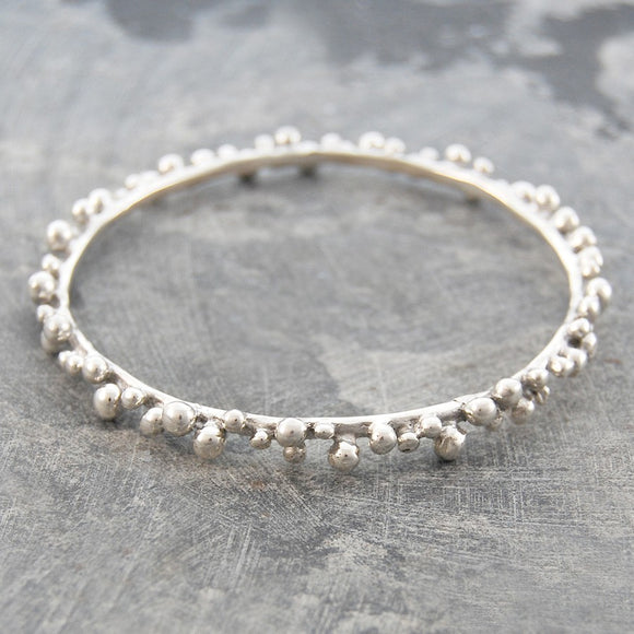 Bubble Solid Silver Bangle