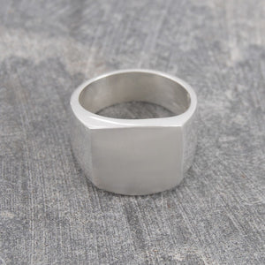 Square Mens Silver Signet Ring