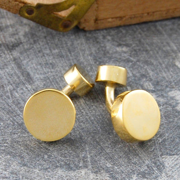 Round Geometric Gold Cufflinks