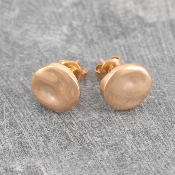 Organic Round Rose Gold Stud Earrings