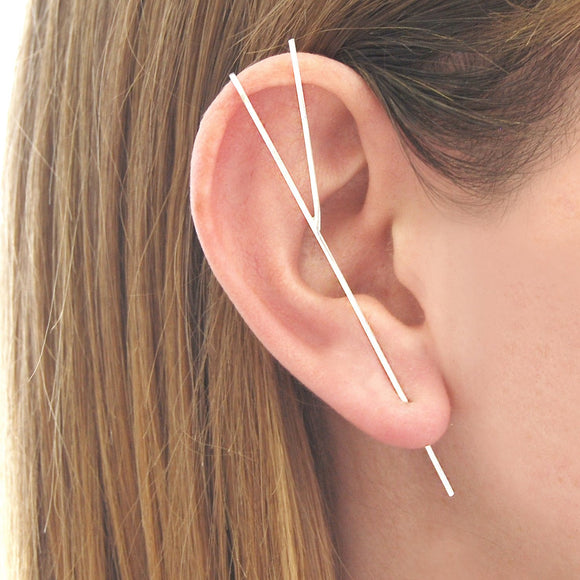 Silver Bar Ear Cuff Earrings