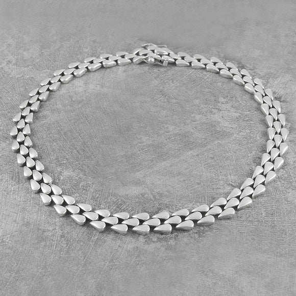 Teardrop Chunky Silver Necklace