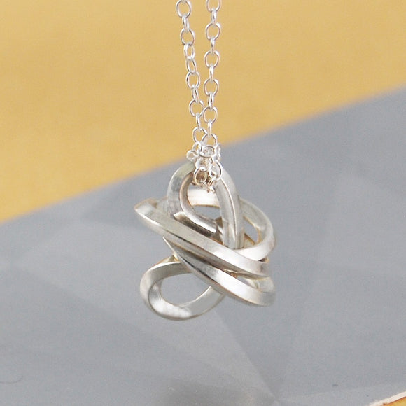 Angular Silver Knot Necklace