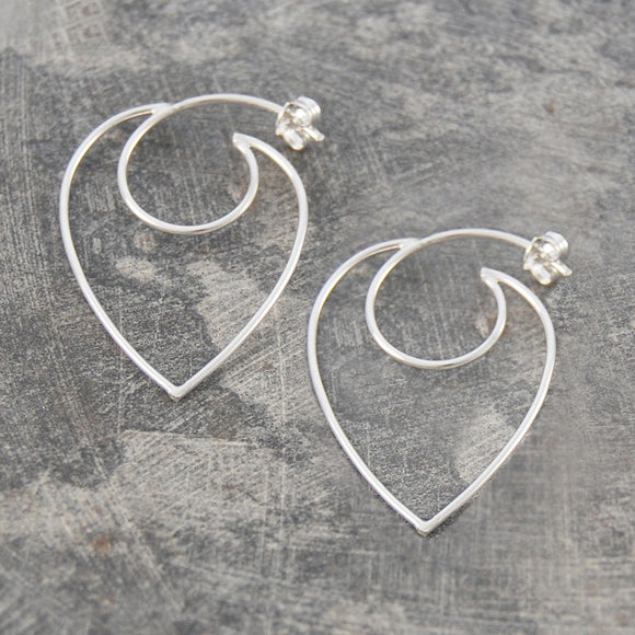 Contemporary Heart Hoop Earrings