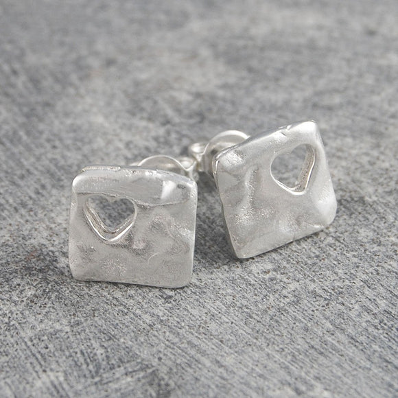 Square Silhouette Silver Heart Stud Earrings