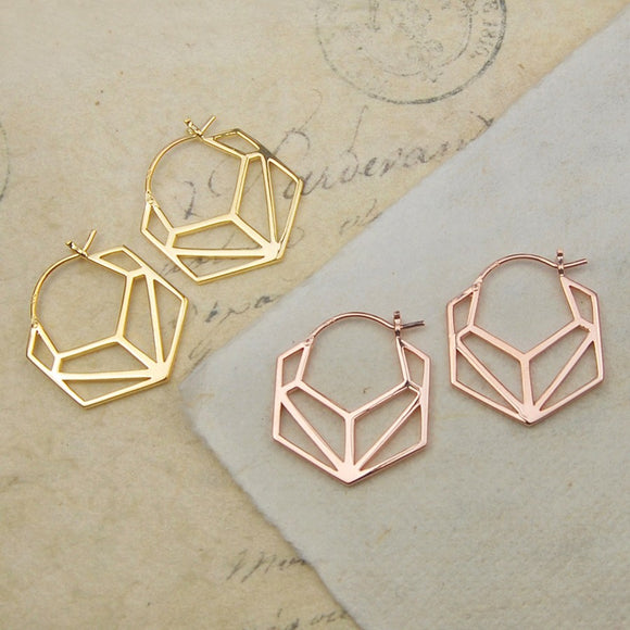 Hexagonal Geometric Gold Hoop Earrings