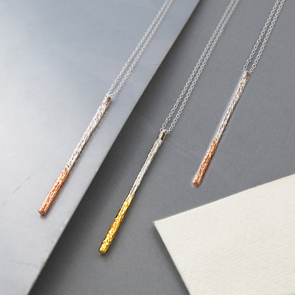 Textured Gold Bar Pendant